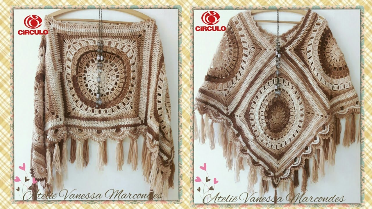 Poncho in Crochet to Use In Two Ways