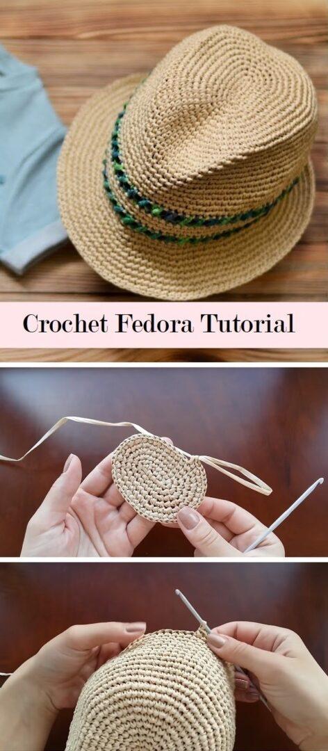 Hat on fedora crochet model