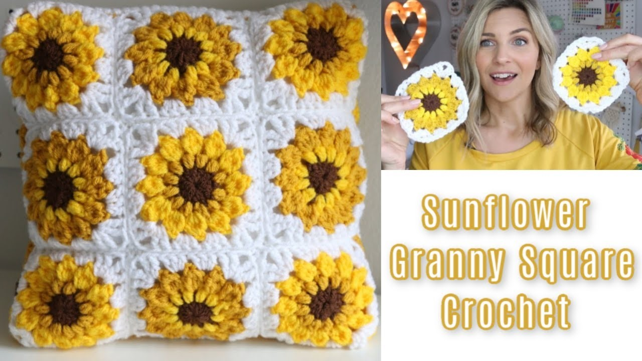 Crochet Sunflower Pad Tutorial Granny Square